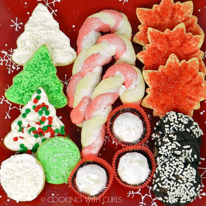 A plate of yummy Christmas Cookies! cookingwithcurls.com