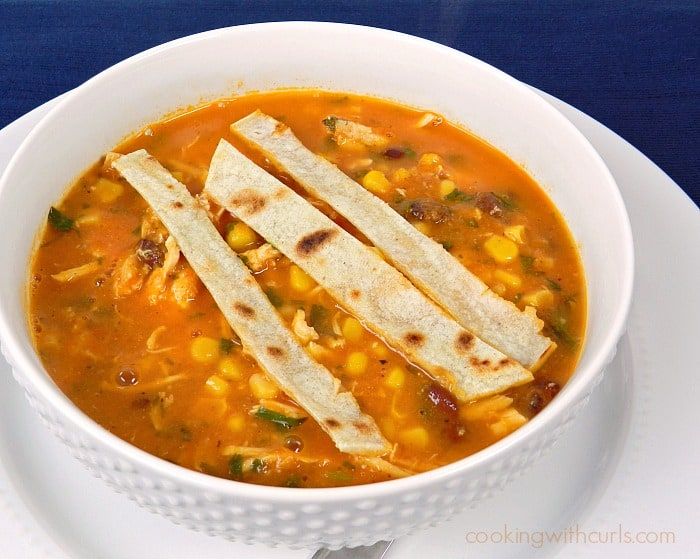 Chicken Tortilla Soup with grilled tortilla strips served in a white bowl