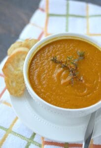 Roasted Carrot Soup and Crustini