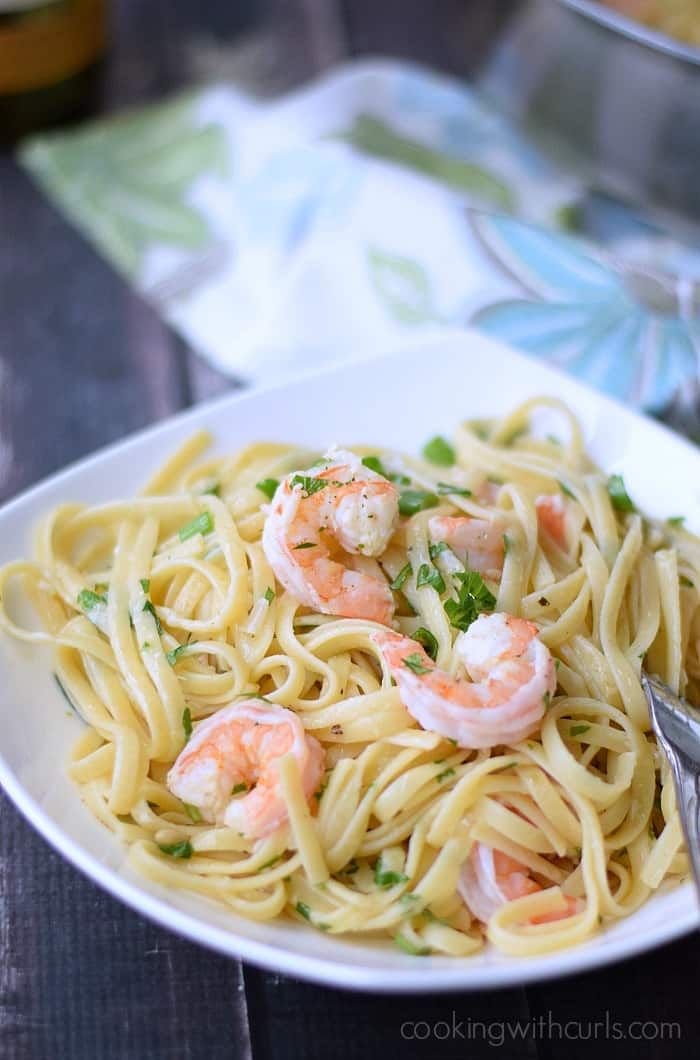 Shrimp Linguine - a special meal that is easy enough for any night of the week | cookingwithcurls.com