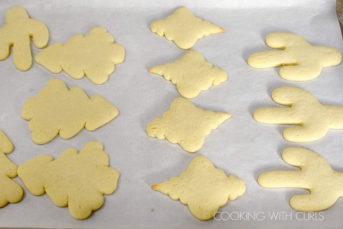 Undecorated cookies on a baking sheet cookingwithcurls.com