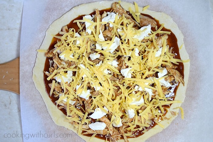 Barbecue Chicken Pizza cheese cookingwithcurls.com
