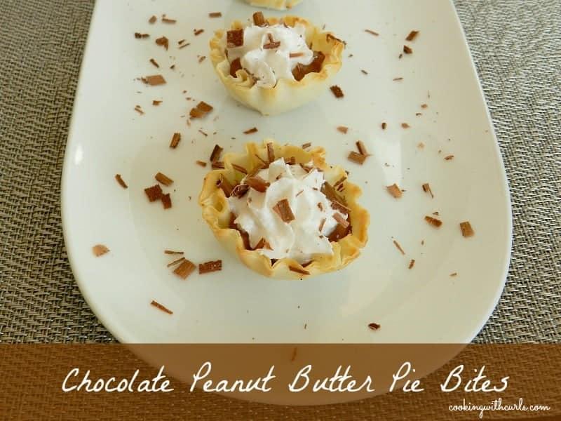 Chocolate Peanut Butter Pie Bites cookingwithcurls.com #superbowl