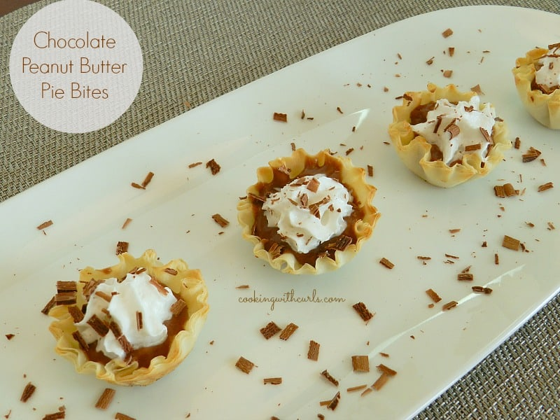 Chocolate Peanut Butter Pie Bites cookingwithcurls.com