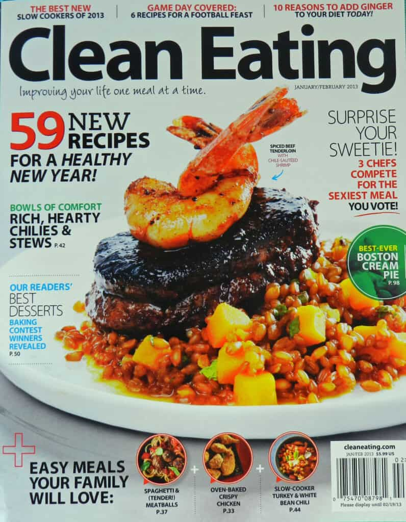 Cover of Clean Eating magazine showing a steak topped with shrimp.
