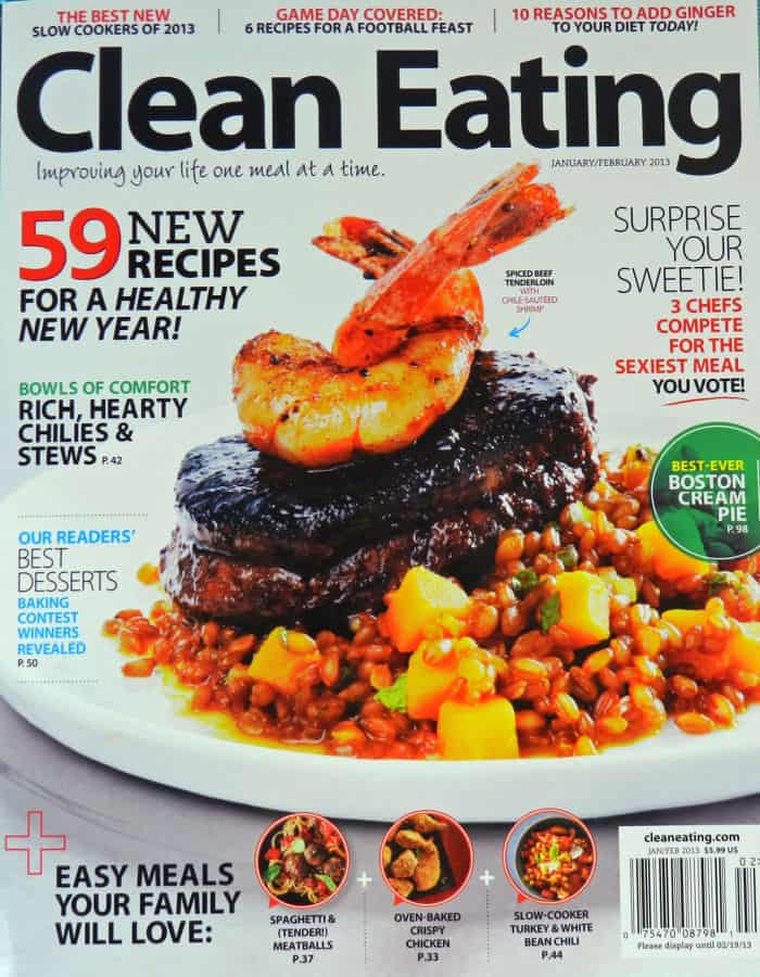 Clean Eating Magazine Cover with shrimp topped steak.