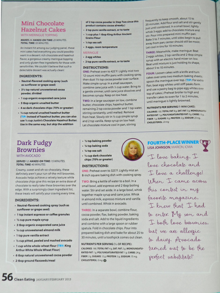 Page 56 of Clean Eating magazine featuring my recipe for Dark Fudgy Brownies with Avocado
