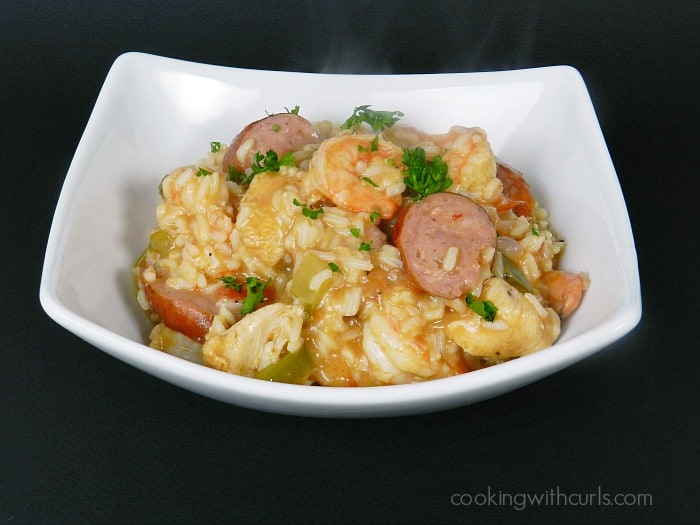 This spicy Shrimp Jambalaya will definitely warm you up on a cold winter night! cookingwithcurls.com