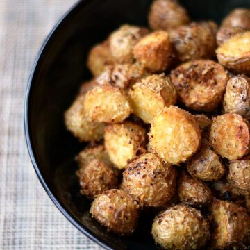 Southwest Roasted Potatoes in a large black bowl.