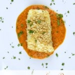 Tortilla-Crusted Sea Bass with Roasted Red Pepper Puree