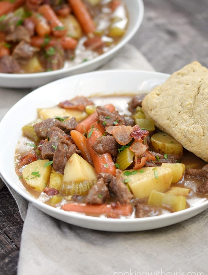 A big bowl of Beef Stew with Guinness Biscuits makes the coldest winter night more enjoyable | cookingwithcurls.com