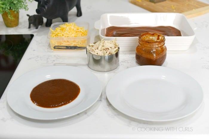 Chicken Enchiladas assembly line cookingwithcurls.com