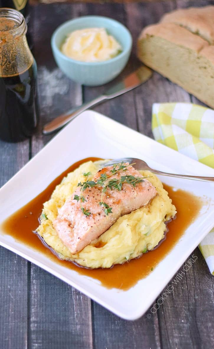 Delicious Guinness Glazed Salmon with Mashed Potatoes cookingwithcurls.com