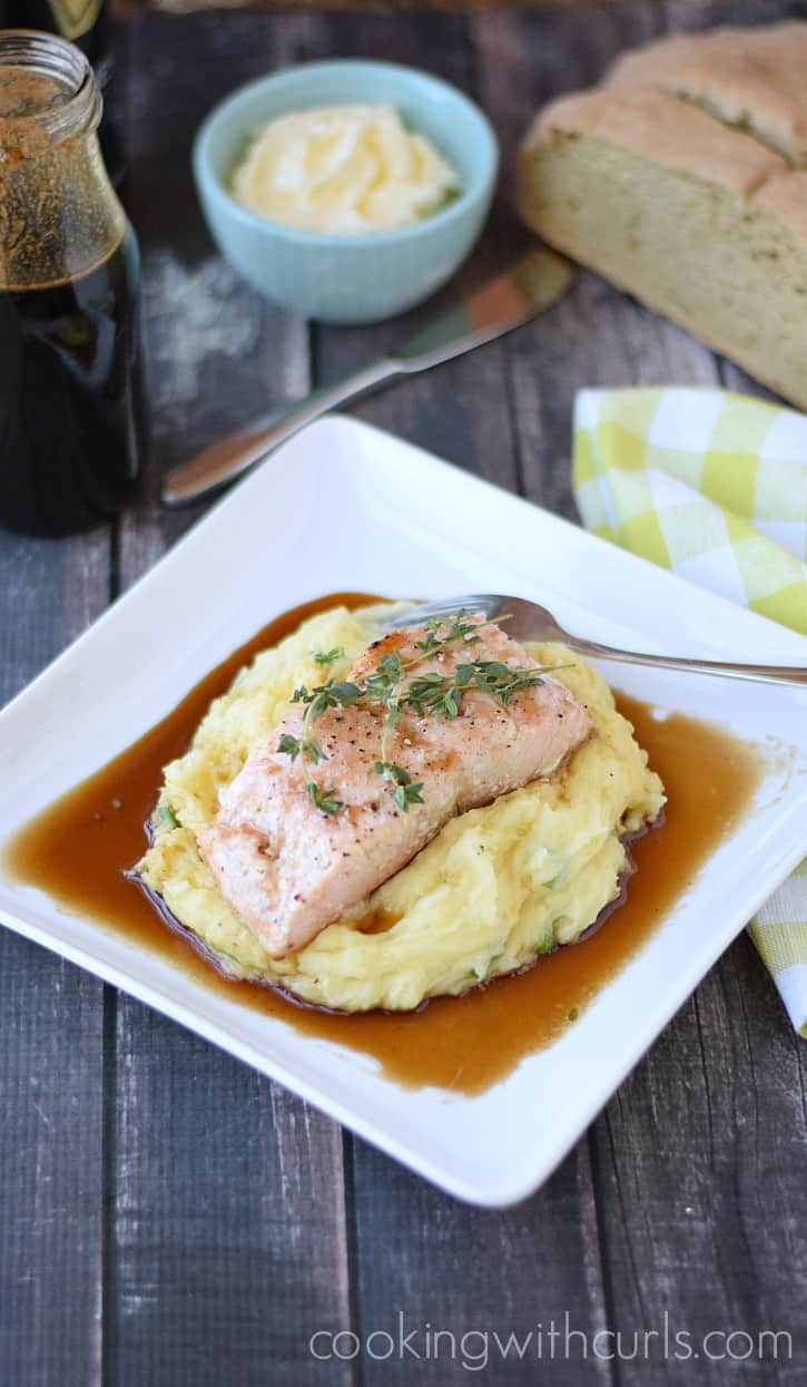Guinness Glazed Salmon with Mashed Potatoes | cookingwithcurls.com