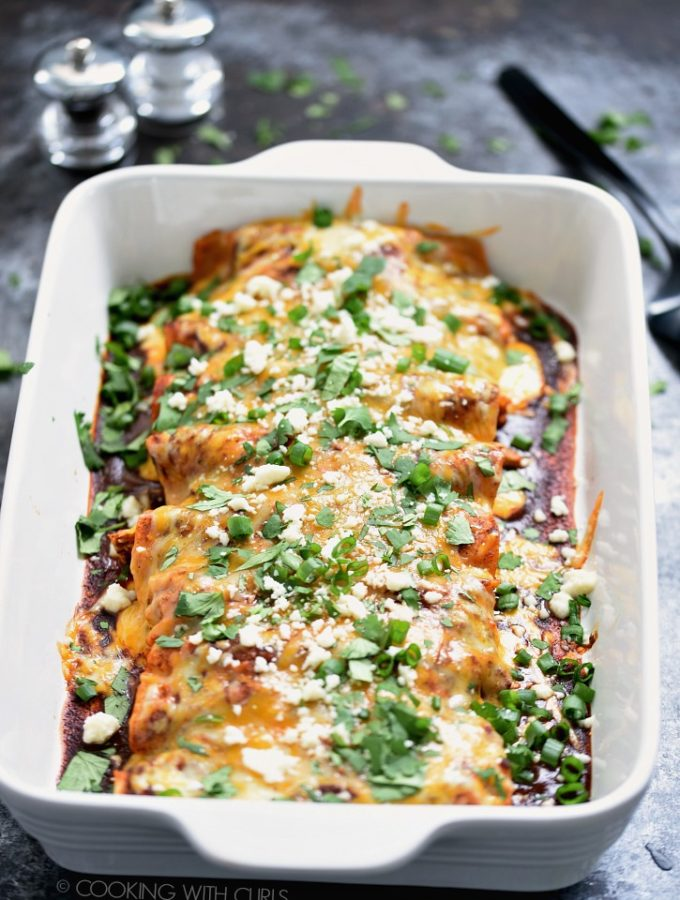 I have been making these Chicken Enchiladas for over 30 years. They are easy to get on the table in a hurry and rival any Mexican restaurant! cookingwithcurls.com