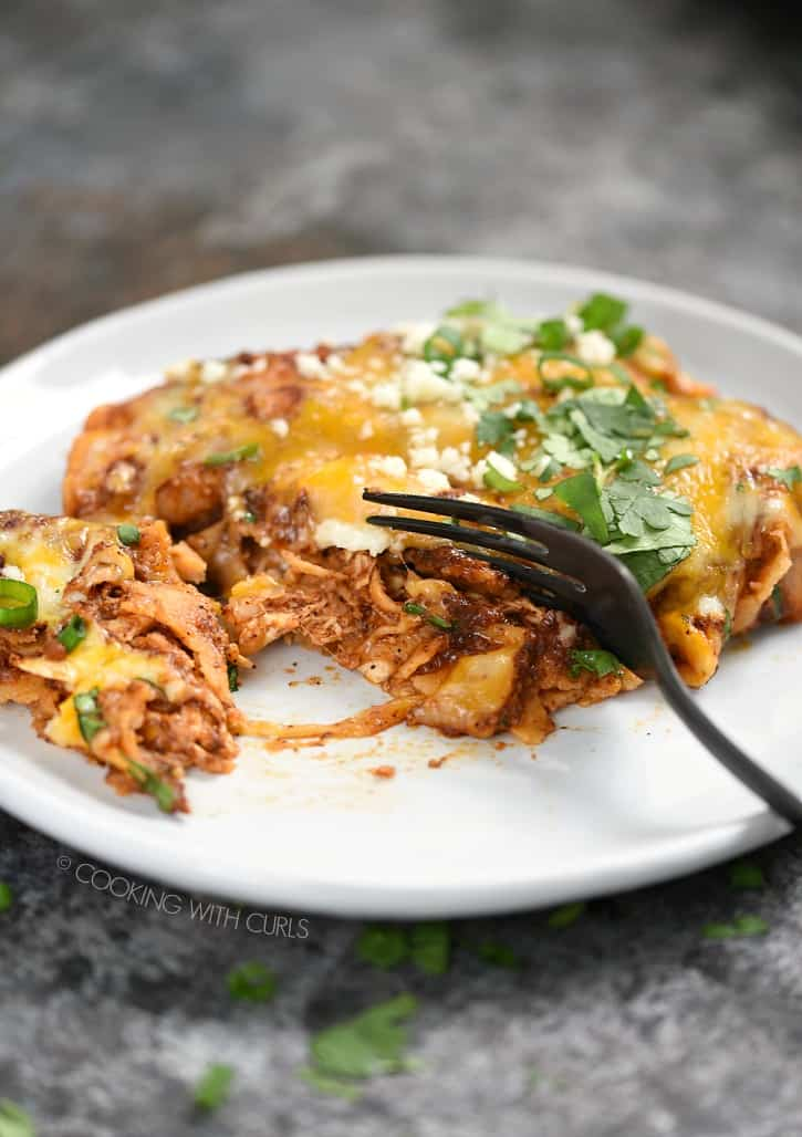 My favorite Chicken Enchiladas made with corn tortillas, red chili sauce, and lots of cheese! cookingwithcurls.com