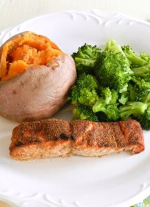 This Spice Rubbed Salmon is super easy to prepare and healthy too! cookingwithcurls.com