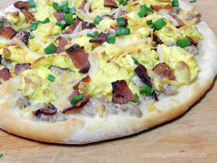 Alex's Breakfast Pizza with fake cheese! cookingwithcurls.com