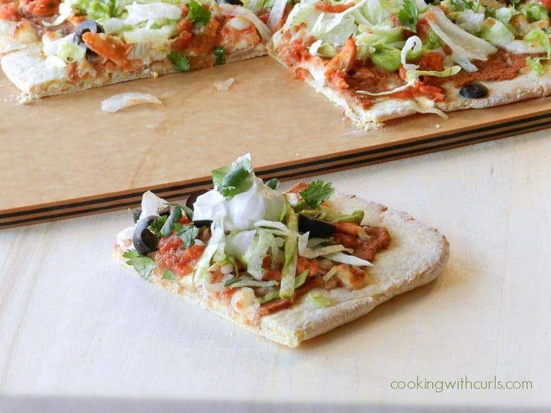 Chicken Tostada Pizza Slice cookingwithcurls.com