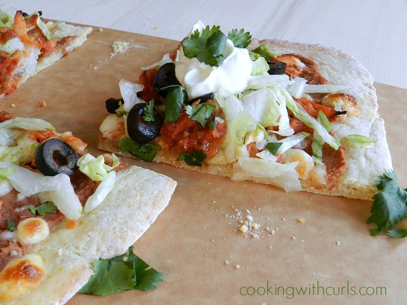 Chicken Tostada Pizza with Cornmeal Crust by cookingwithcurls.com