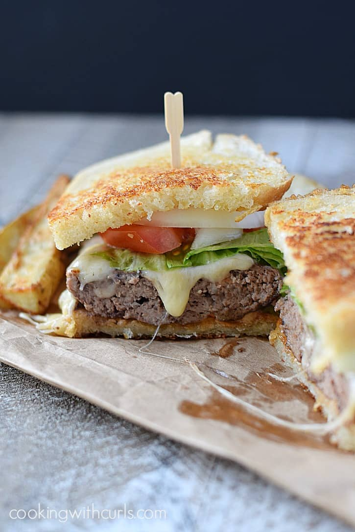 Juicy burger topped with Thousand Island Dressing, melted cheese and sourdough bread grilled to perfection make this Frisco Burger a family favorite | cookingwithcurls.com