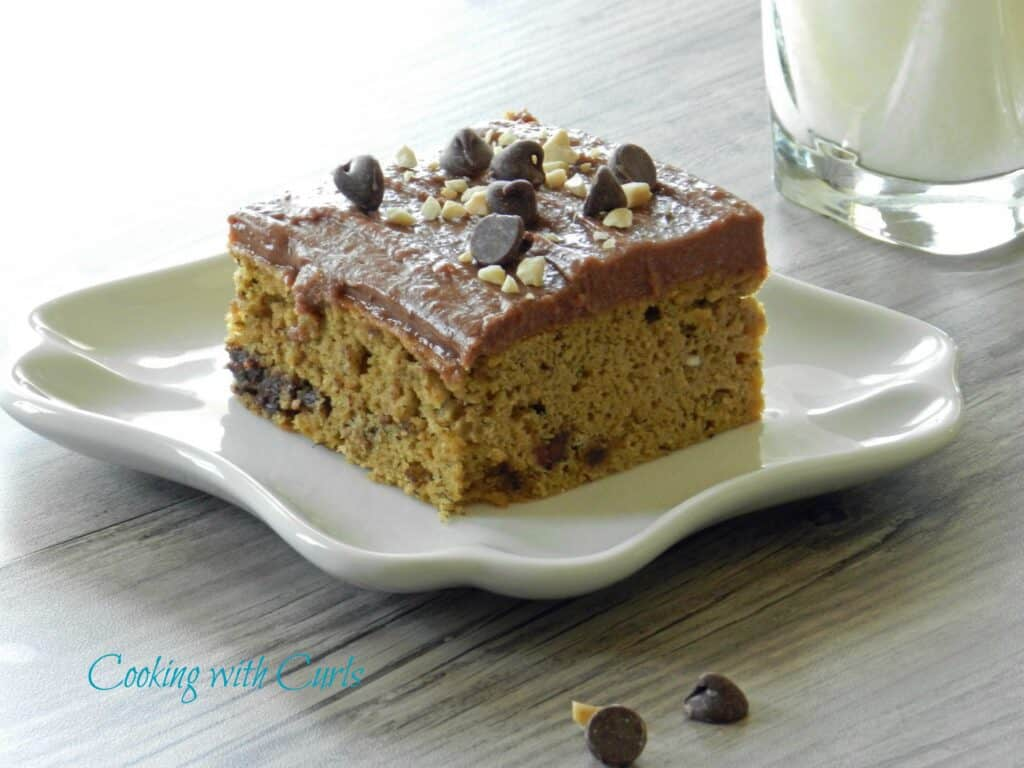 Banana Chocolate Chip Cake with Peanut Butter Chocolate Frosting