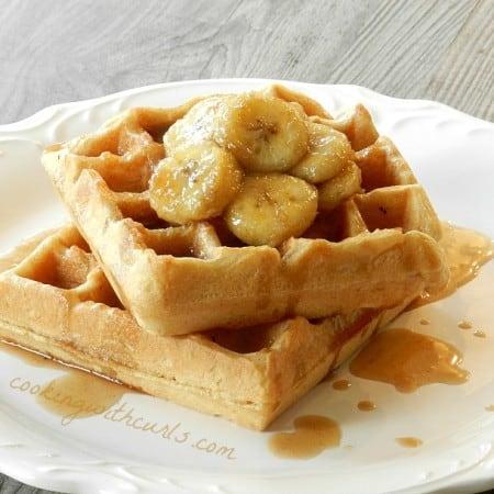 Bananas Foster Belgian Waffles cookingwithcurls.com