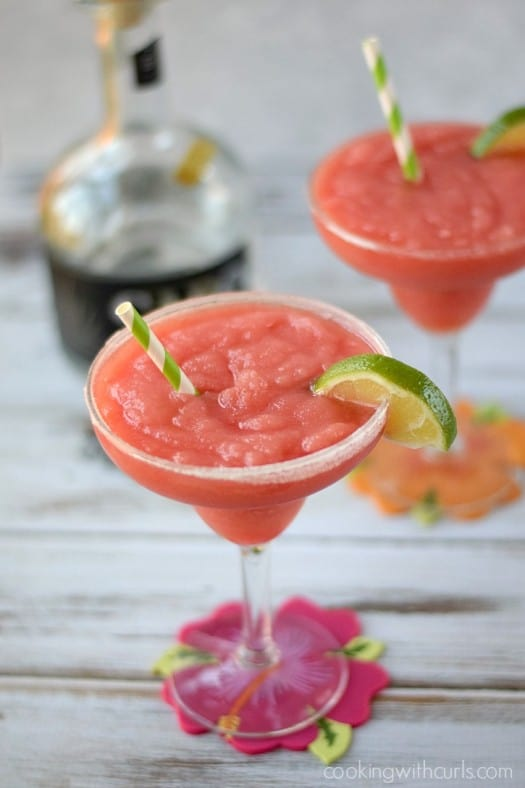 Celebrate Summer with these delicious Frozen Watermelon Margaritas   cookingwithcurls.com
