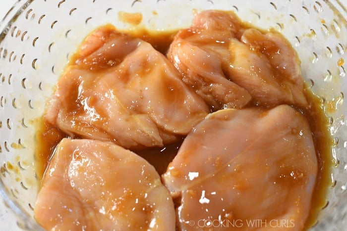Marinade the chicken for one hour in the teriyaki sauce cookingwithcurls.com