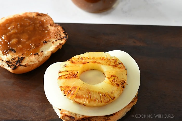 Top the sandwich with grilled pineapple slice cookingwithcurls.com