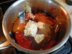 bbq sauce ingredients in pan