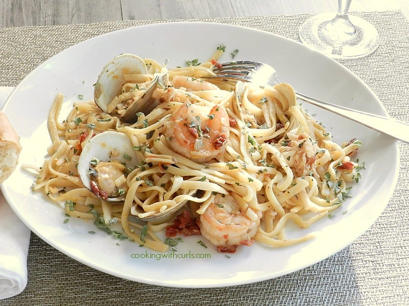 A big plate of Italian Seafood Pasta.