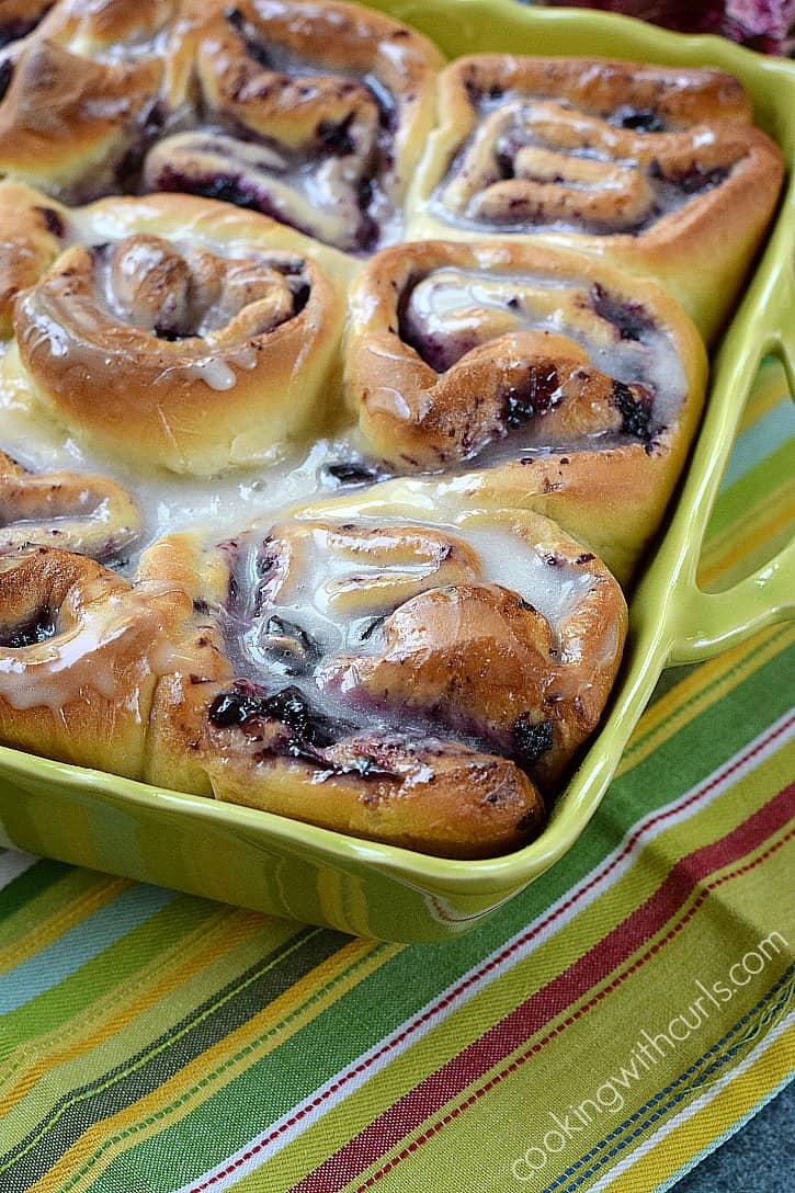 Soft and delicious Blueberry Sweet Rolls with Lemon Glaze | cookingwithcurls.com