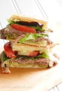 This Roast Beef Pesto Sandwich is the perfect meal to throw together on busy weeknights! cookingwithcurls.com