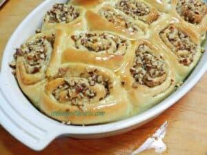 Baklava Sourdough Cinnamon Rolls Pour Syrup cookingwithcurls.com