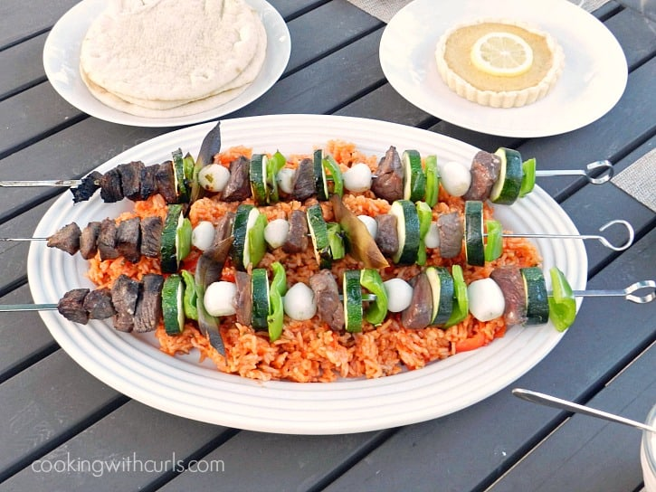 Greek marinated Lamb and Vegetable Kabobs, grilled to perfection with green peppers, zucchini, and pearl onions - cookingwithcurls.com