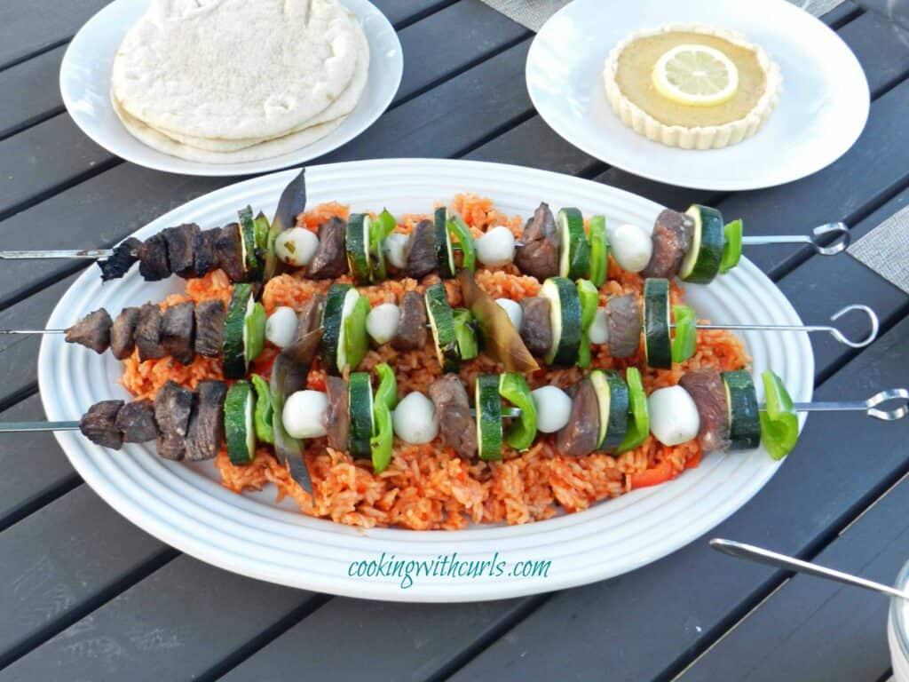 Lamb and Vegetable Kabob Platter cookingwithcurls.com