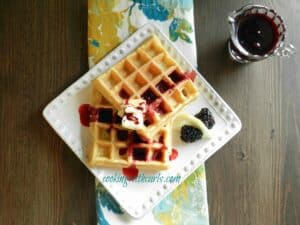 Lemon Belgian Waffles with Blackberry Syrup