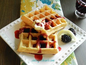 Lemon Belgian Waffles with Blackberry Syrup from cookingwithcurls.com