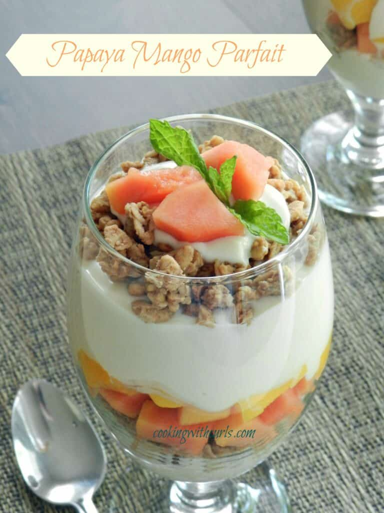 Papaya Mango Parfait with Greek yogurt, granola, and honey from ...