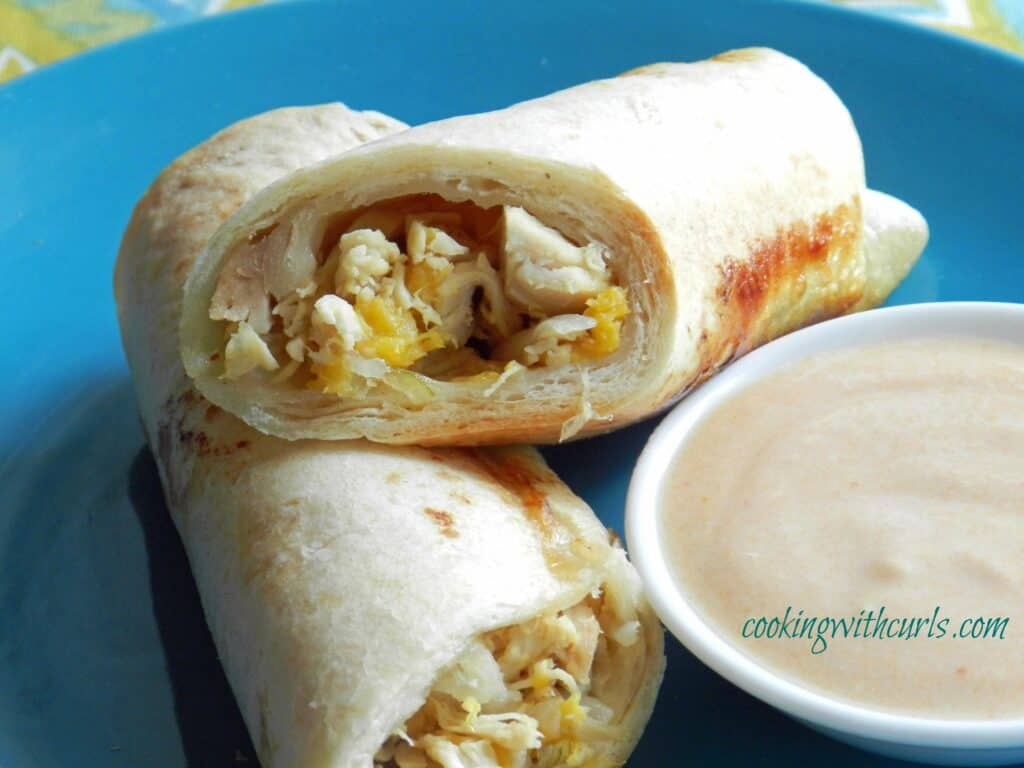 Peachy Chicken Taquitos with Adobo Sauce from cookingwithcurls.com