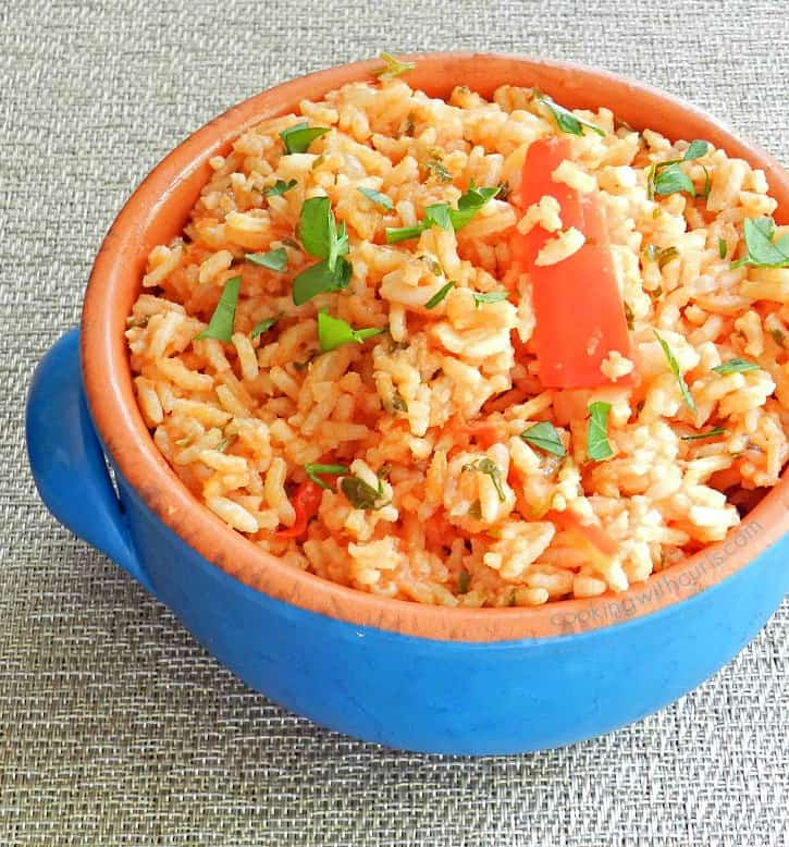 This Greek version of Tomato Pilaf is the perfect side dish for my Lamb and Vegetable Kabobs! cookingwithcurls.com