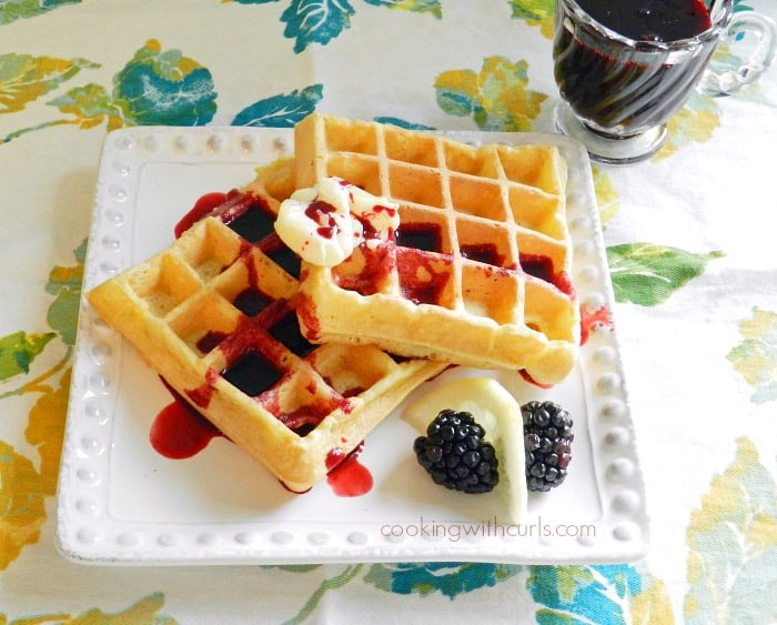 What could be better than Lemon Belgian Waffles with Blackberry Syrup for breakfast cookingwithcurls.com