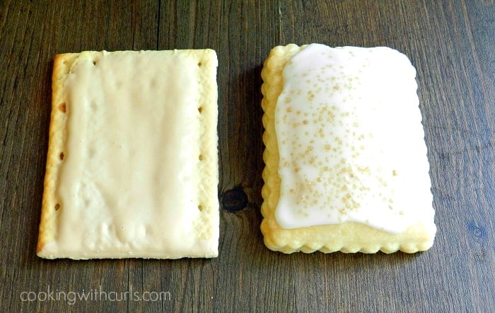 a store-bought brown sugar pop tart laying next to a blond fatale pop tart.