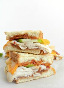 Apple butter, turkey, bacon and apple slices on grilled sourdough bread combine to make the ultimate Turkey Apple Panini! cookingwithcurls.com