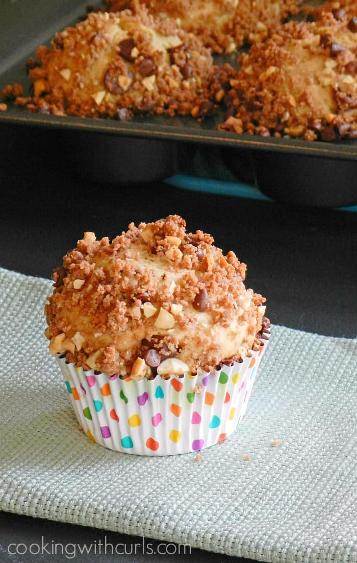 Peanut Butter Chocolate Muffins are loaded with everyone's favorite combination of flavors! cookingwithcurls.com