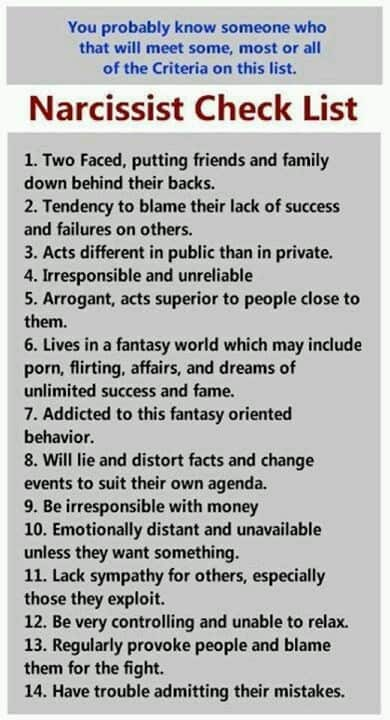 Narcissist Check List