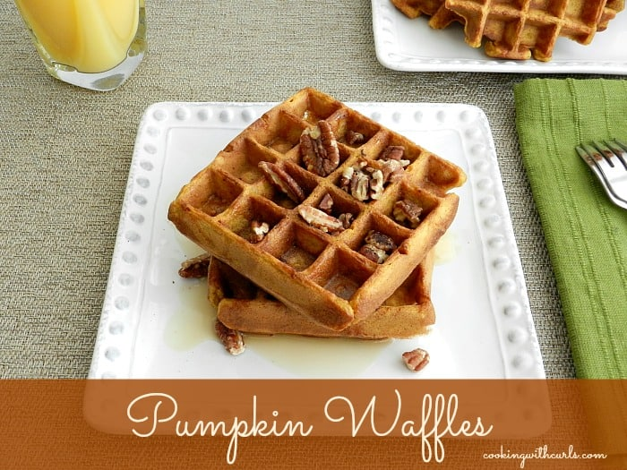 Pumpkin Waffles by cookingwithcurls.com