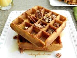 Pumpkin Waffles cookingiwthcurls.com