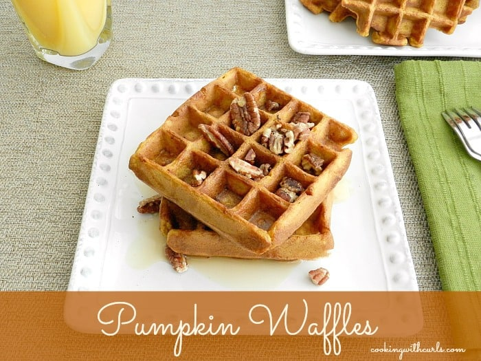 Pumpkin Waffles with toasted pecans and maple syrup! cookingwithcurls.com